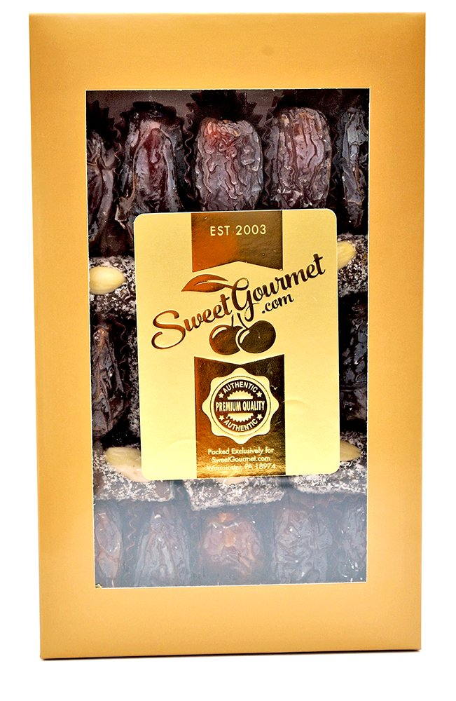 SweetGourmet Date Coconut Rolls with Almond & Large Medjool Dates (1Lb Gift Box)