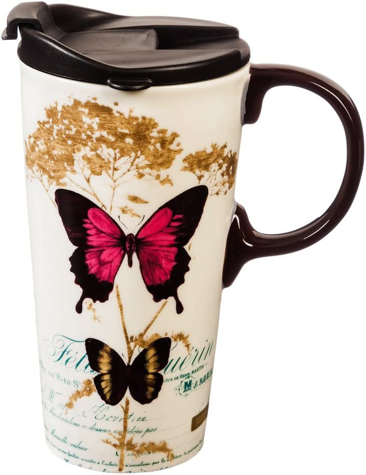 Cypress Home Nature Inspired Travel Mug - Butterfly Ceramic Travel Cup - 5 x 7 x 4 Inches
