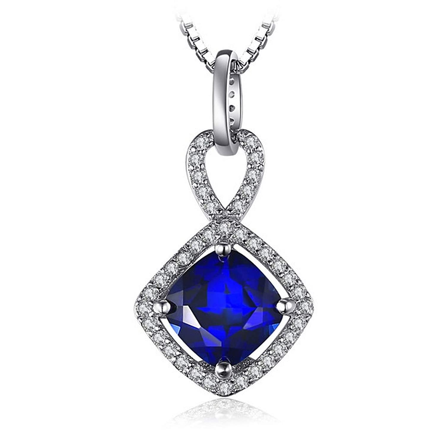CS-DB Silver Cushion 2.4ct Square Blue Sapphire Fashion Jewelry Pendants Necklaces For Womens