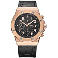 Men's Watch Luxury Black Leather Strap Black Dial Rose Gold Large Case Military with Chronograph Calendar Waterproof and Luminous XL