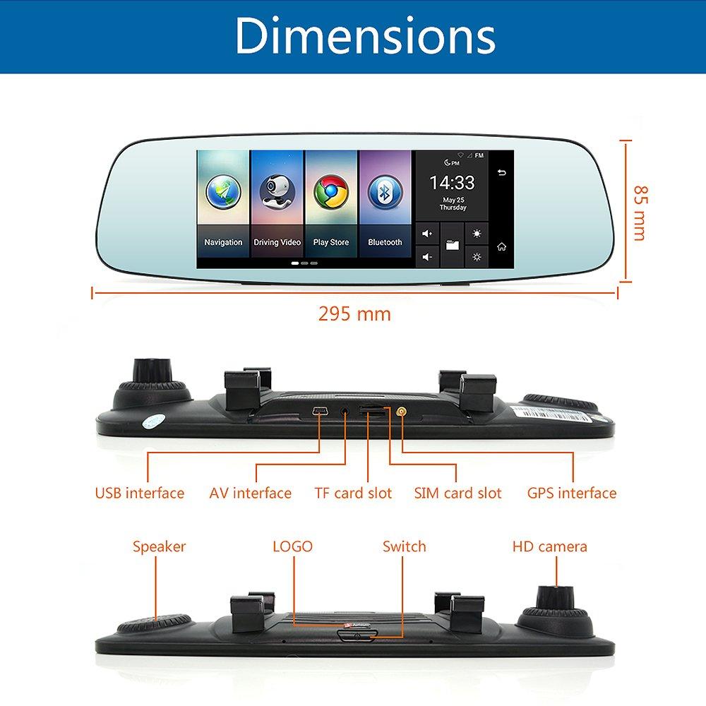 junsun 4G 7'' Dash Cam Car Camera DVR GPS Bluetooth Dual Lens Rearview Mirror Video Recorder Full HD 1080P Automobile DVR Mirror by junsun (Image #6)