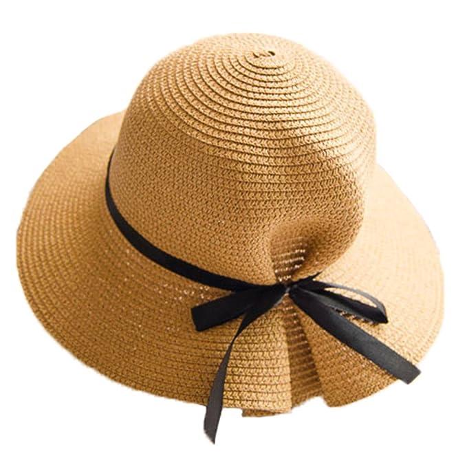 Sombrero de Jipijapa de Paja Verano Primavera Plegable Mujer Niñas Caqui   Amazon.es  Ropa y accesorios b5921e35a04