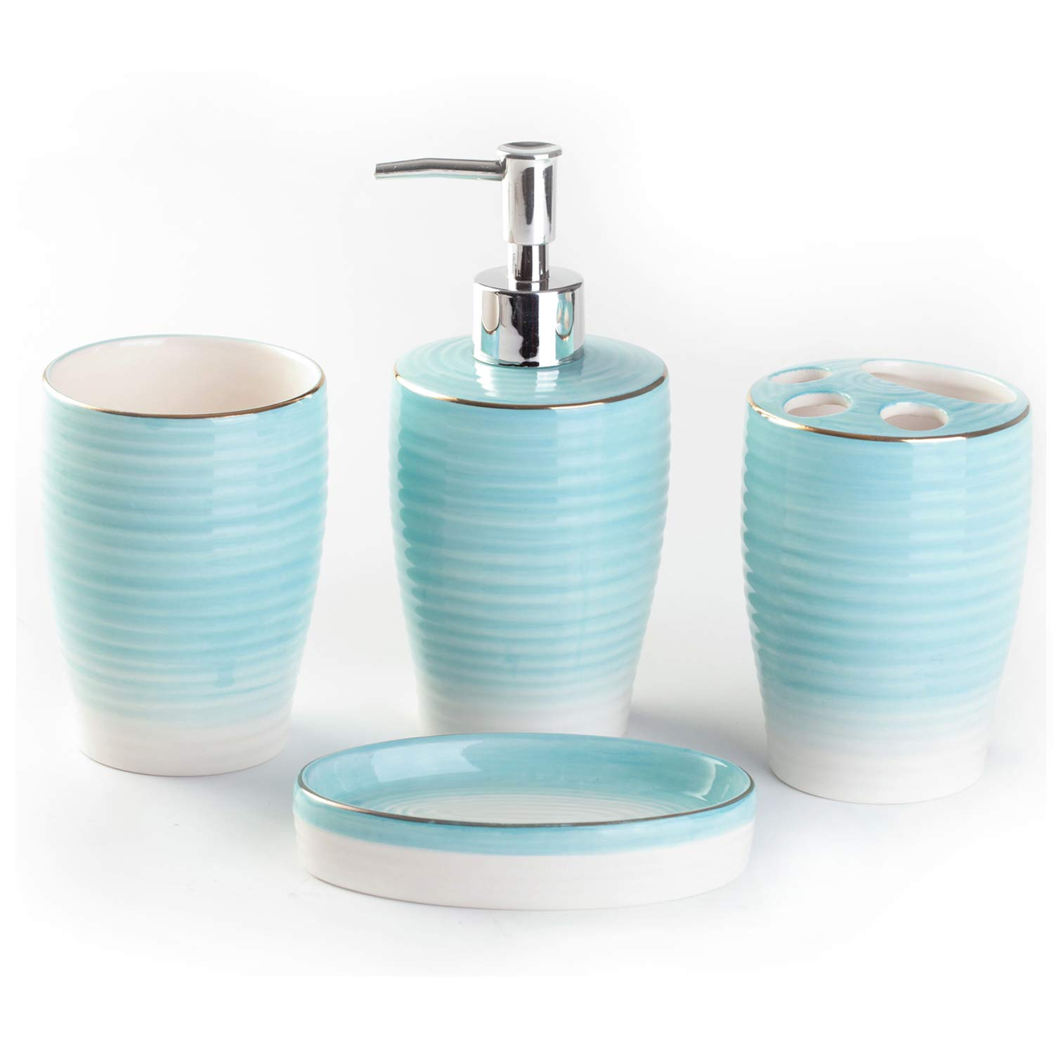 Bloom Flower 4-Piece Stoneware Bathroom Accessory Sets- Toothbrush Holder, Tumbler, Soap Dish & Dispenser, Aqua