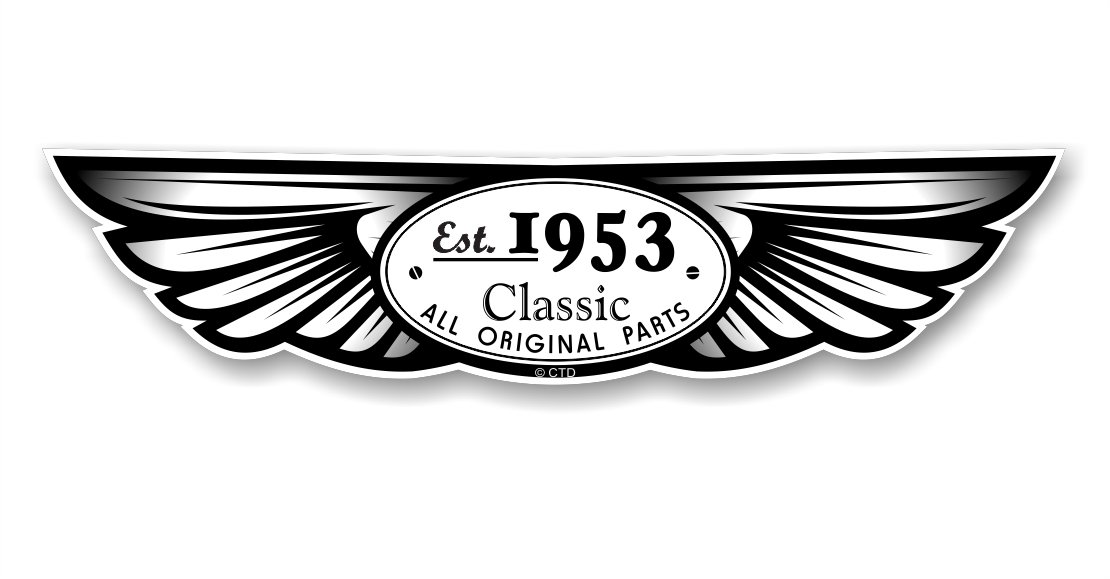 créé 1953traditionnel ailé emblème Design pour casque moto biker en vinyle autocollant pour voiture en 130x 30mm CharlieTangoDelta