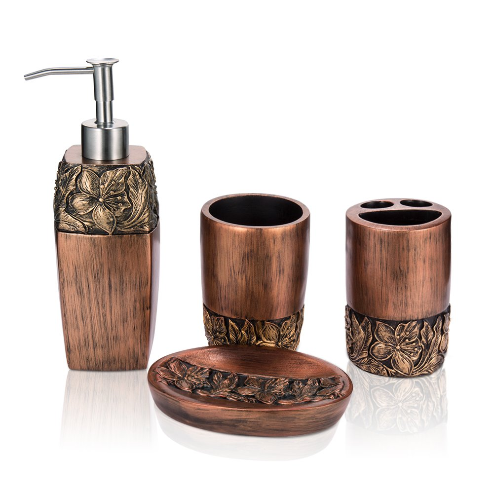 HISOIT Bathroom Set Bathroom Accessories, 4 Pack Bathroom Washing Accessories Set Complete ,Toothbrush Soap Holder, Lotions Dispenser and Washing Cup Included,Bronze
