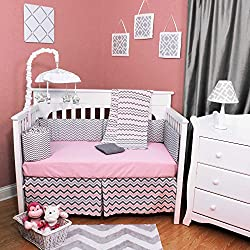 Pink and Grey Zig Zag 6 Piece Baby Crib Bedding Set - 100% Cotton Percale Fabric