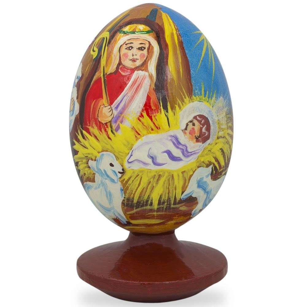 BestPysanky 3.5'' Nativity Scene with Angel and Lambs Wooden Figurine