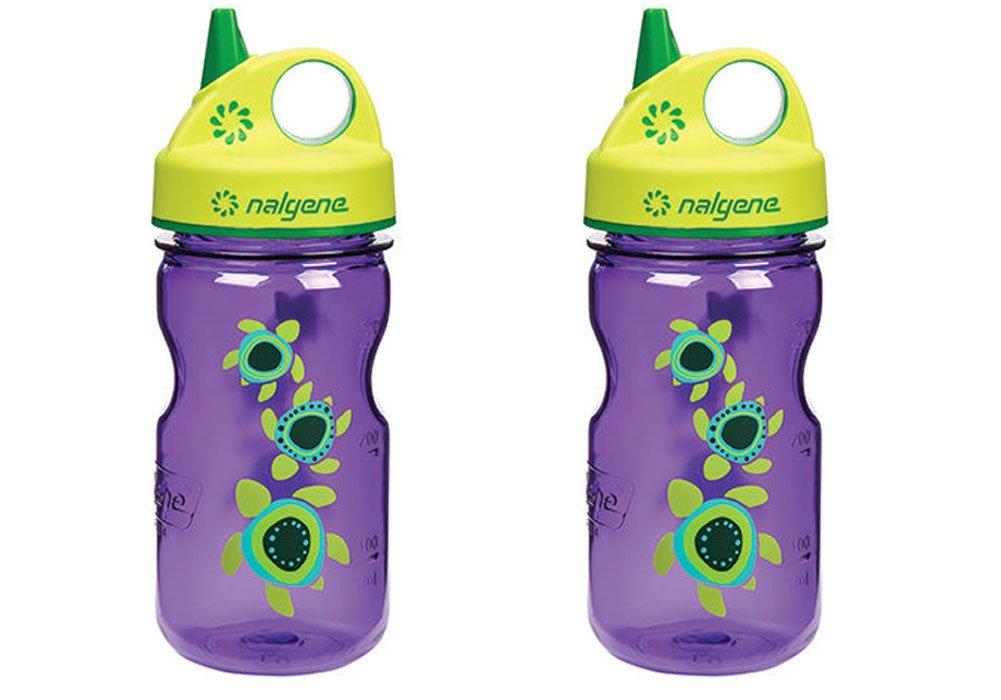 Nalgene Grip-n-gulp Everyday Kids Sea Turtles 12oz Water Bottle Purple 2 Pack