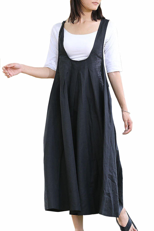 Kelanapparel Custom Made Loose Fitting Maxi Linen Cotton Overalls KL156D