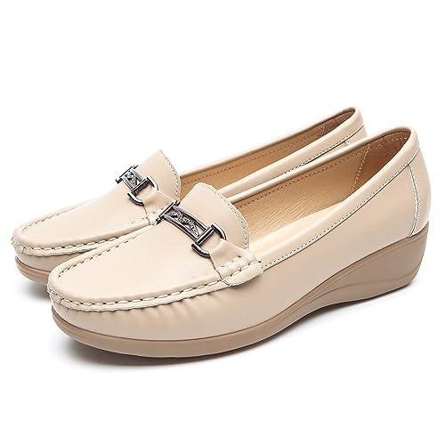5eb388fb508 Mocasines Negros Planos para Mujer Invierno - Zapatos Comodos Plataforma  Cuña, Adecuado para Oficina y Uso Diario: Amazon.es: Zapatos y complementos