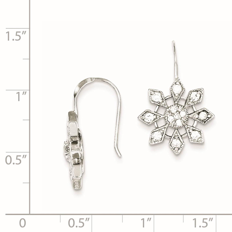 925 Sterling Silver CZ Snowflake Dangle Earrings