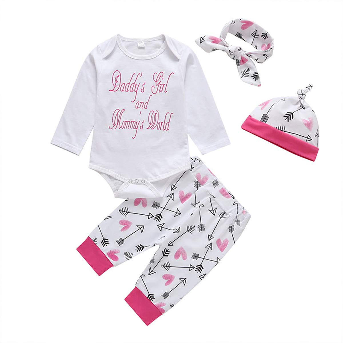4 pcs Baby Girls Newborn Infant Toddler Clothes 6-12 Months Arrow Heart Pants