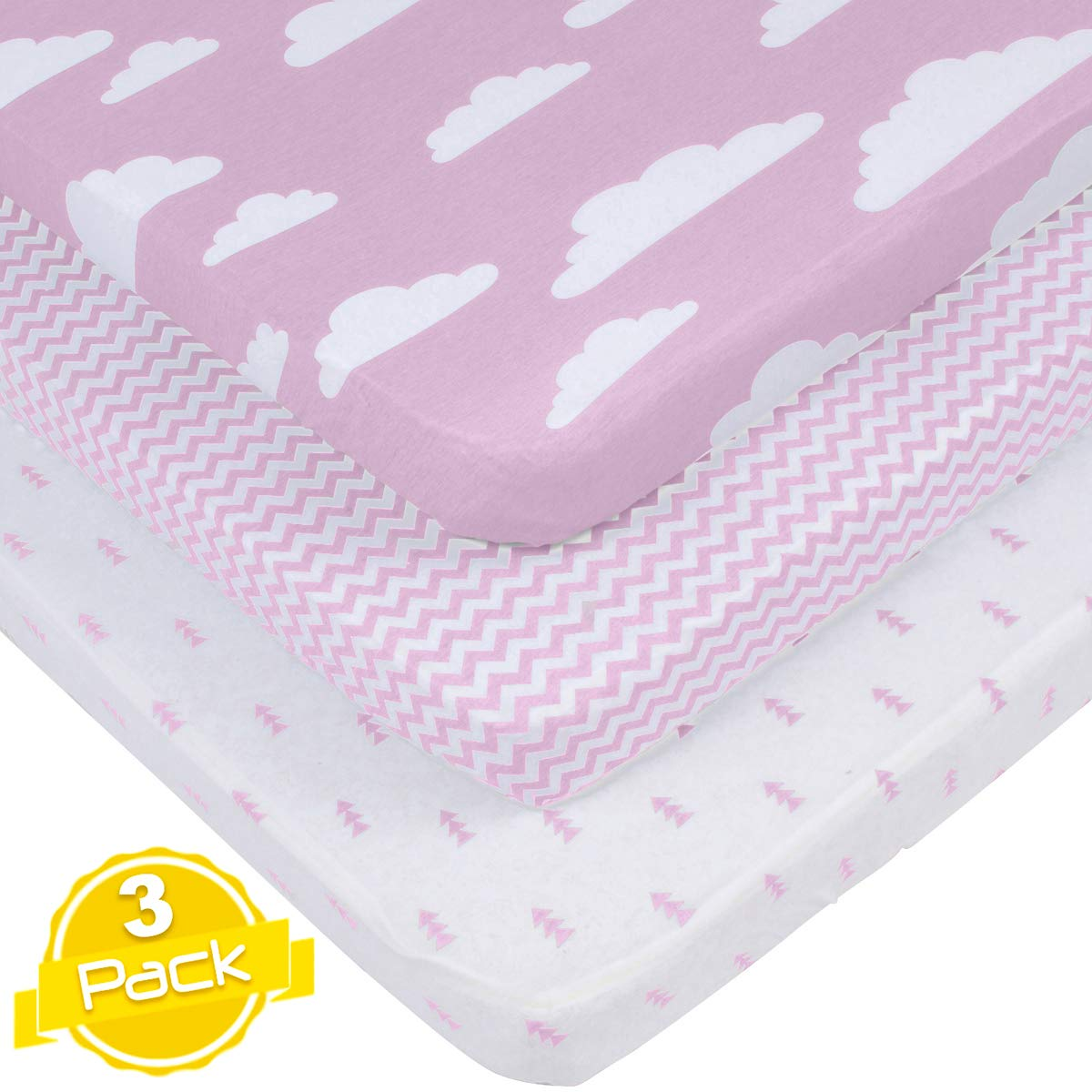 Pack n Play Playard Sheets Set   3 Pack   100% Super Soft Jersey Knit Cotton (150 GSM)   Portable Mini Crib Mattress Fitted Sheet for Boys & Girls by BaeBae Goods