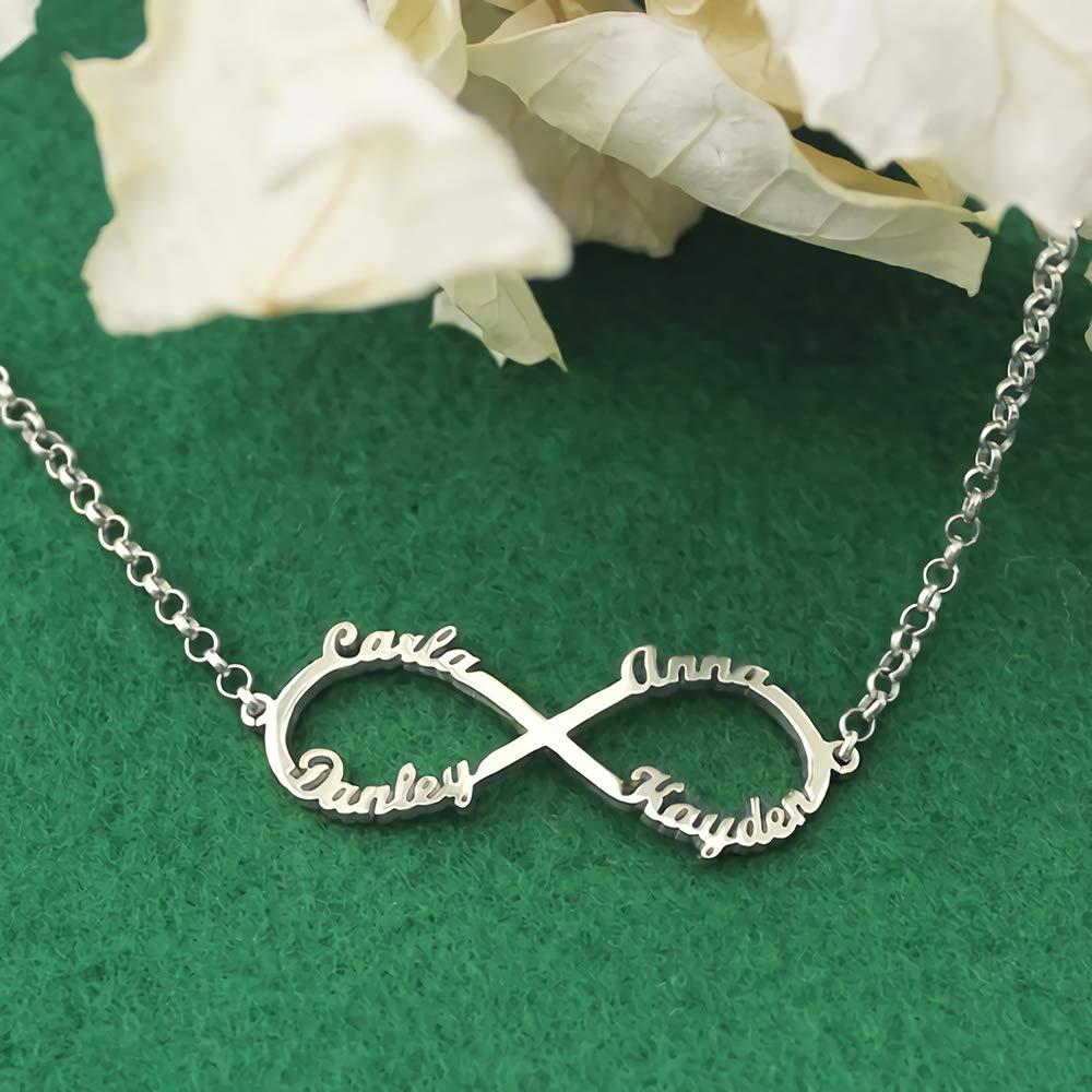 Godmoy Bracelet Infini Nom Bracelet Personnalis/é avec Pr/énom 4 Noms 925 Argent Sterling//Or Or Rose