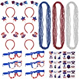 72PCS 4th of July Accessories for Patriotic Decor Independence Day Party Favors Supplies Includes 36PCS Temporary Glitter Tattoos, 6PCS Plastic Glasses, 24PCS Bead Necklaces and 6PCS Headbands