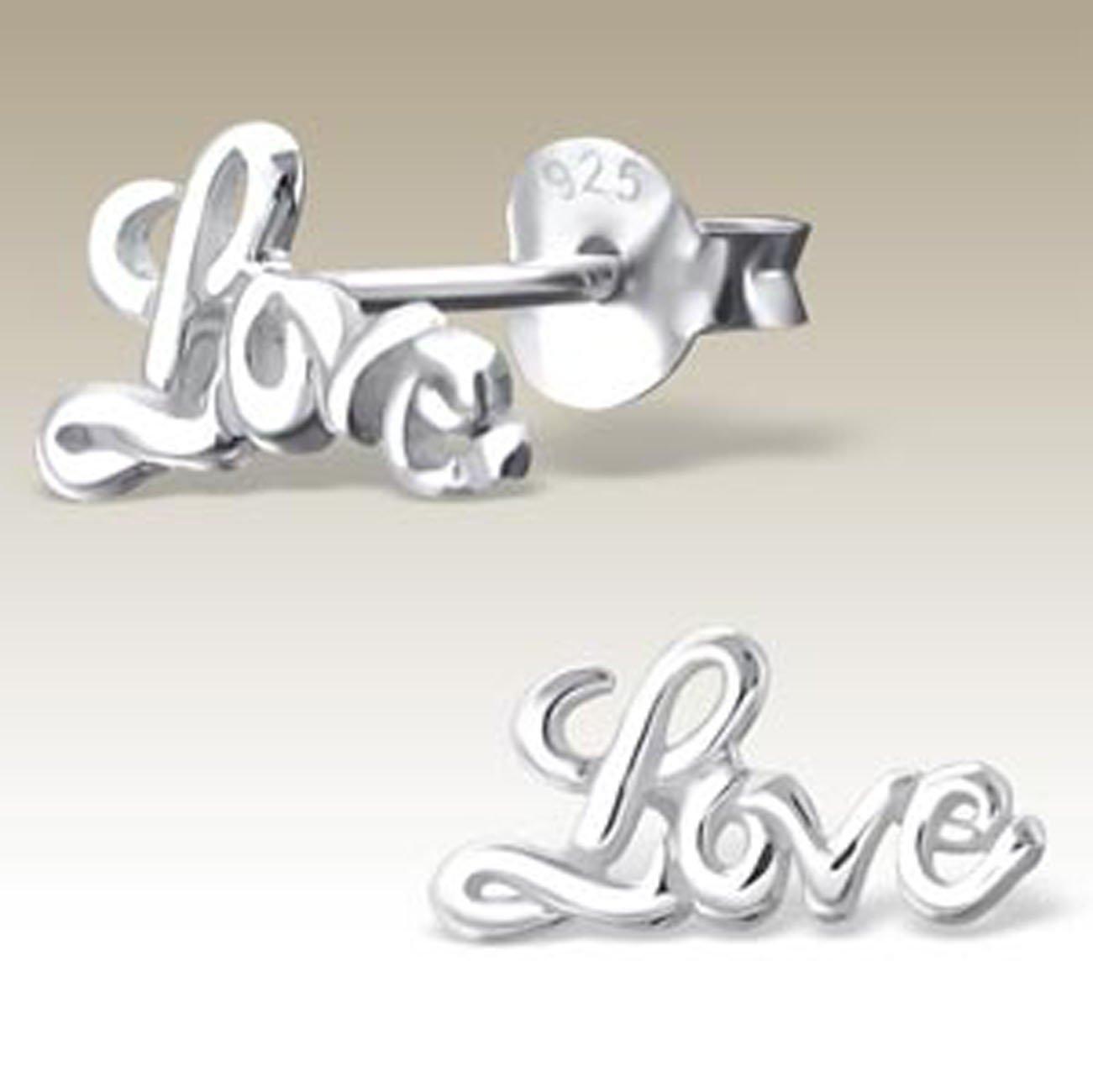 Love Earrings Word Stud, Stering Silver 925 (E17410)