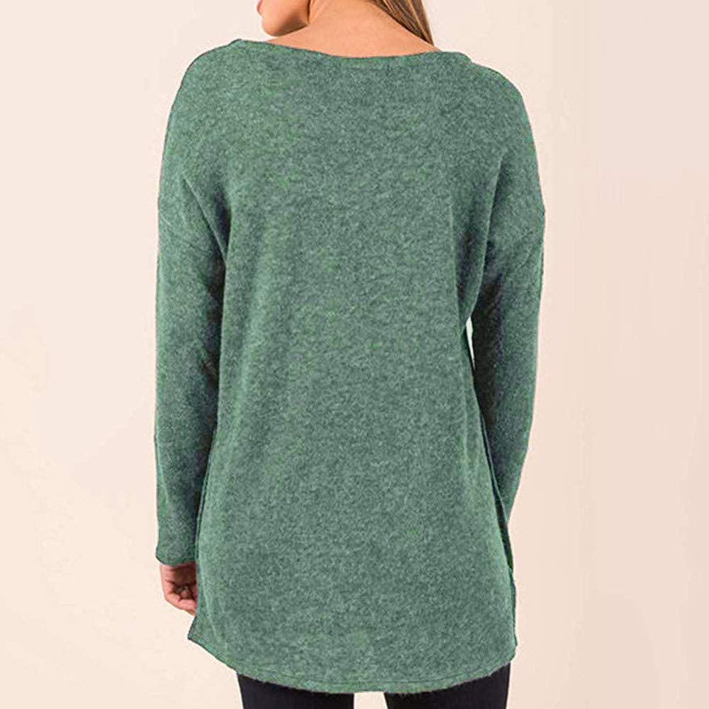 Winsummer Womens Side Buttons T-Shirt Top Long Sleeve Casual Crew Neck Tunic Tops Loose T Shirt Blouses