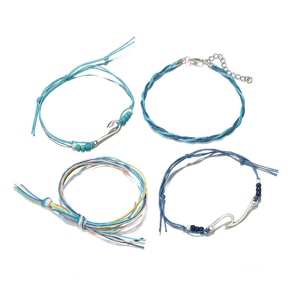 Simdoc 4Pcs Boho Anklets Bracelets Handmade Sky Blue Waterproof Wax Coated Wave Charm Beach Adjustable Bracelets For Women Girls