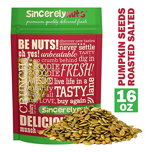 Sincerely Nuts Shelled Pepitas Pumpkin Seeds Salted (1 lb bag) | Delicious Nutrient Dense Low Carb Snack | High in Magnesium & Manganese Minerals |Gluten Free | Kosher |Great for Cooking