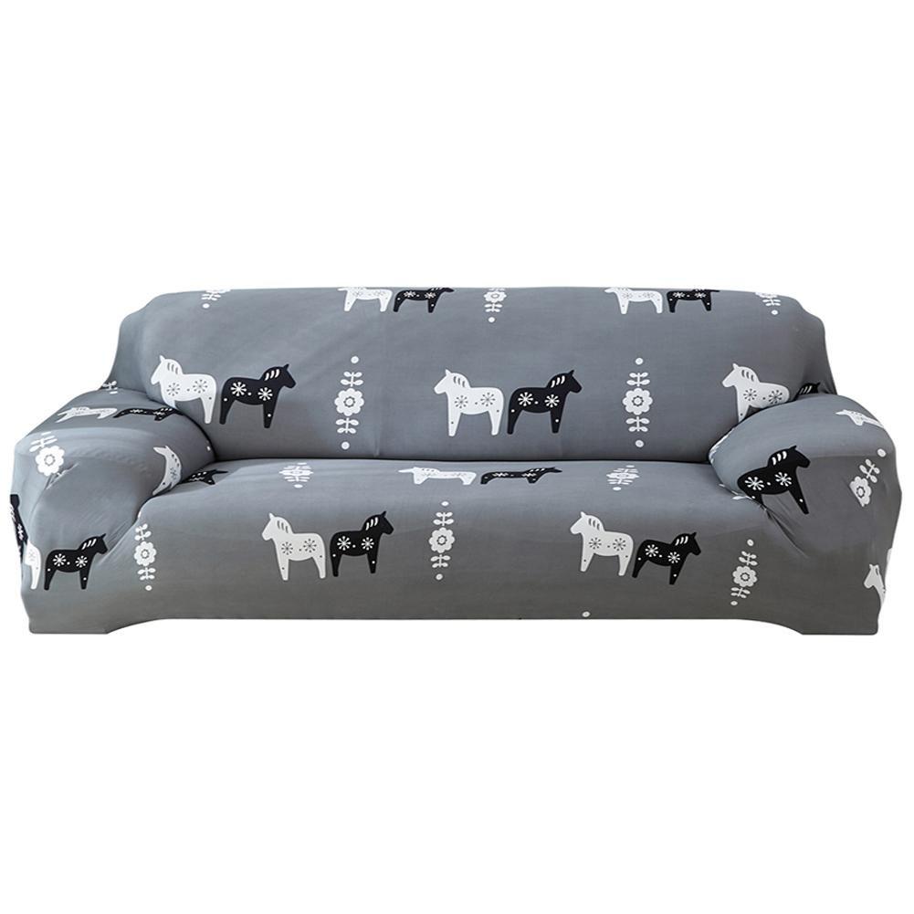 Awakingdemi Elastic Sofa Tight Wrap Animal All-inclusive Slipcovers Cover(Horse/4-Seat)