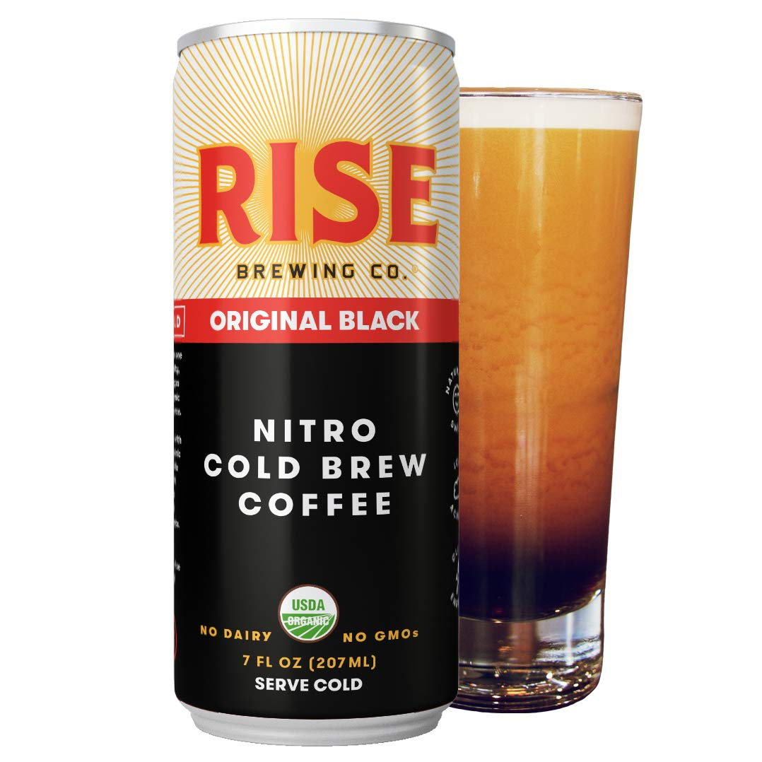 RISE Brewing Co. | Original Black Nitro Cold Brew Coffee (12 7 fl. oz. Cans) - Sugar, Gluten & Dairy Free | USDA Organic and Non-GMO | Clean Energy, Low Acidity, & Naturally Sweet | 0 Calories by RISE Brewing Co.
