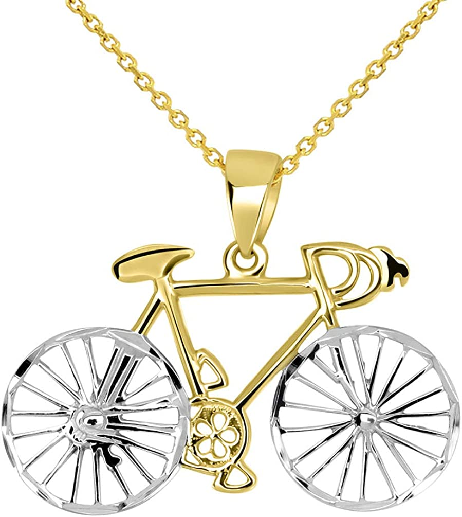 Sterling Silver Girls .8mm Box Chain BIKE ROUTE Sign Pendant Necklace