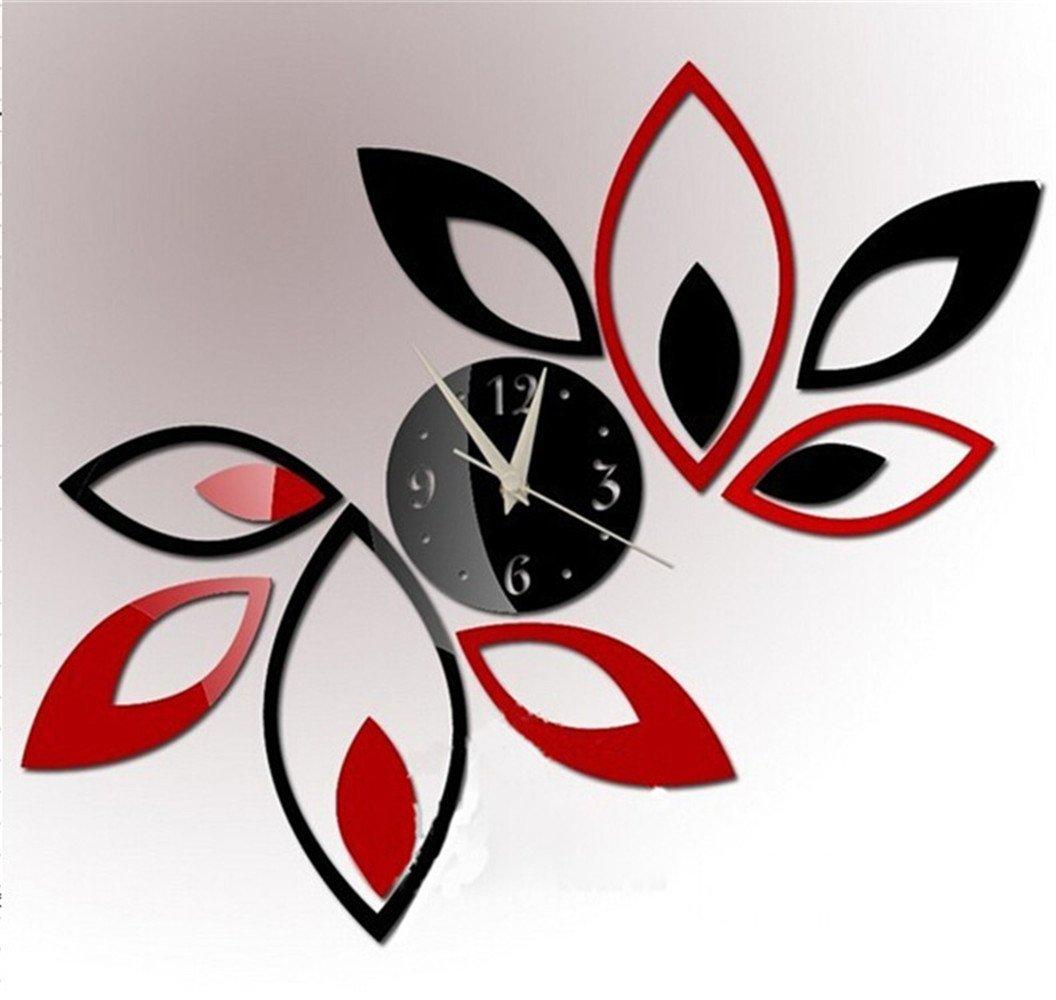 modern design wall clocks amazoncom toprate mirror wall clock red and black rhombus leaves sticker decoration - Wall Clocks