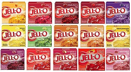 Jell-O Gelatin Sampler (Pack of 15 Different Flavors 3oz Box)