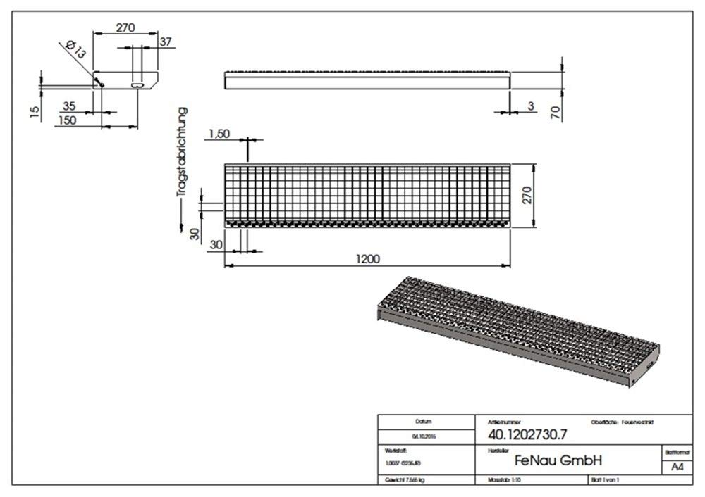 Ma/ße: 1500 x 270 mm XSL Gitterrost-Stufe Fluchttreppen geeignet Fenau Stahl-Treppenstufe nach DIN-Norm Anti-Rutsch-Wirkung Vollbad-Feuerverzinkt R11 MW: 30//30 mm