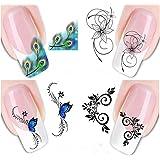 Drawihi 4 fogli assortiti Adesivo decorazioni per unghie Decal DIY decalcomanie unghie strumento di decorazione arte adesivi unghie adesivi