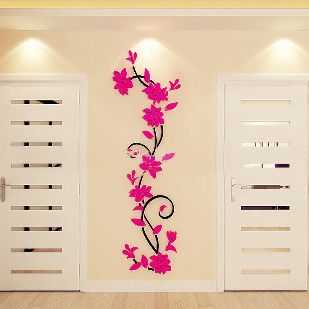 Hot Pink,One Size UJUNAOR DIY 3D Acrylic Crystal Stereoscopic Wall Stickers Living Room Bedroom TV Background Home