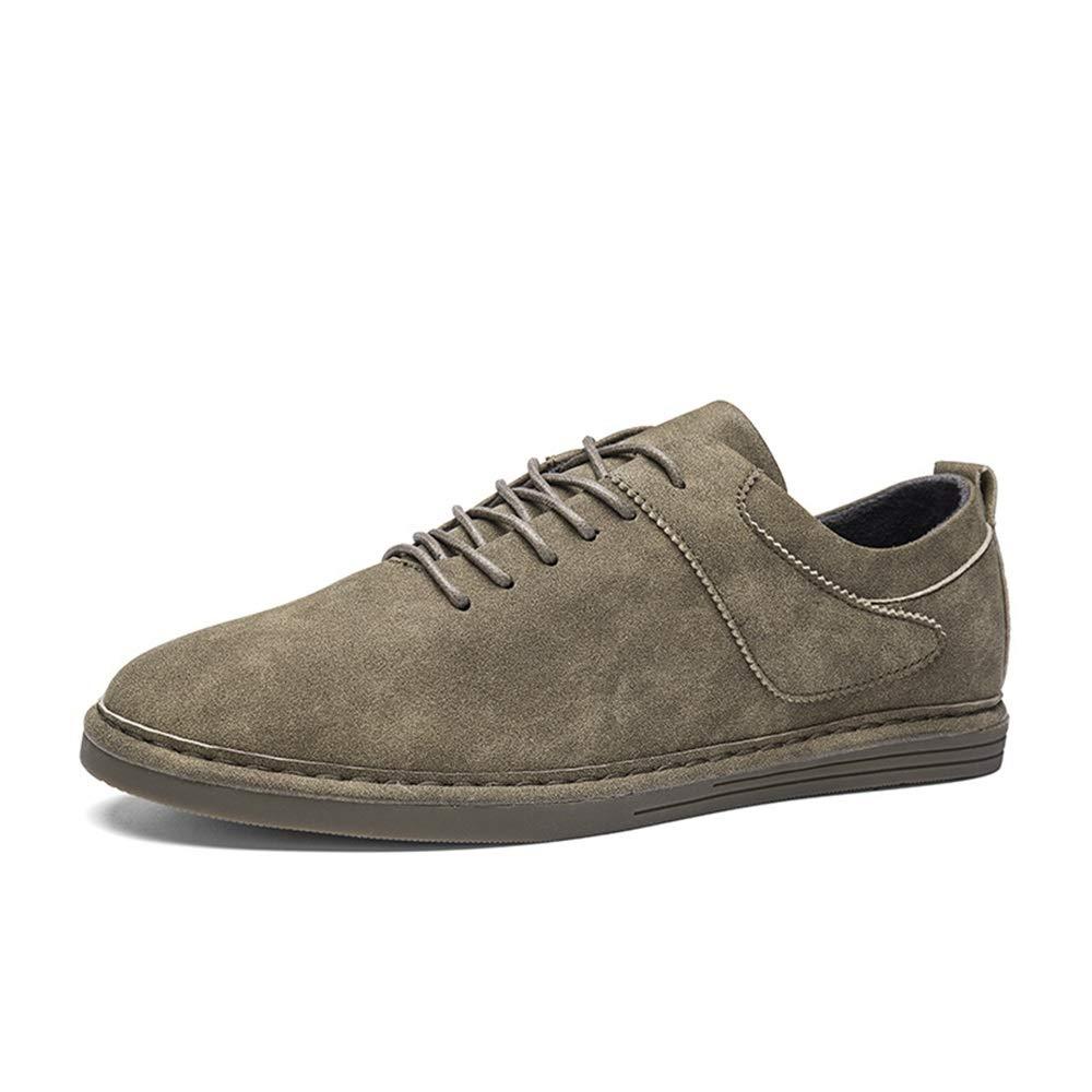 Qiusa Herren Lace up Loafers weiche tägliche Sohle Rutschfeste Breathable Casual tägliche weiche Fahr Schuhe (Farbe : Grau, Größe : EU 42) Grün d6f08c