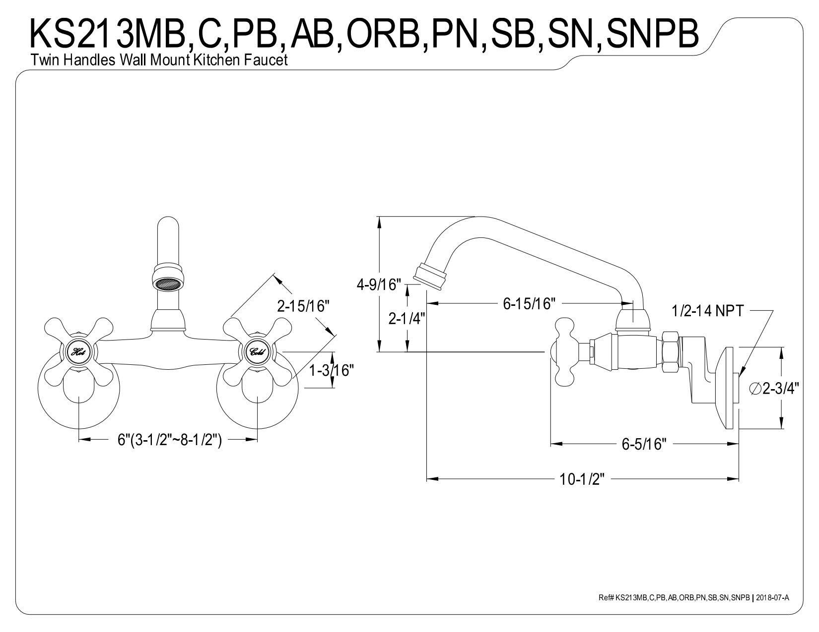 Kingston Brass KS213SN Wall Mount Kitchen Faucet with Cross Handles, Satin Nickel by Kingston Brass