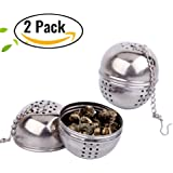 DEJUHUI US Stainless Steel Small Ball,Tea Spice Filter,Loose Leaf Strainer (2 Pack), Sliver