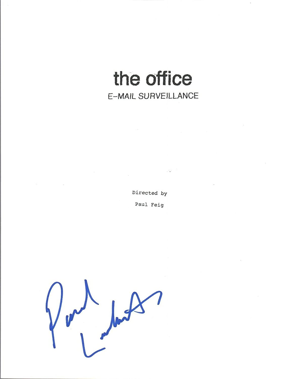 Paul Lieberstein Signed Autographed THE OFFICE Email Surveillance Script COA Unbranded