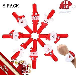 Jassary 8 Pulseras Slap para niños, Pulseras de Tela a Granel para niños y niñas, Renos, muñeco de Nieve, Santa Claus Slap Pulsera cumpleaños: Amazon.es: Juguetes y juegos