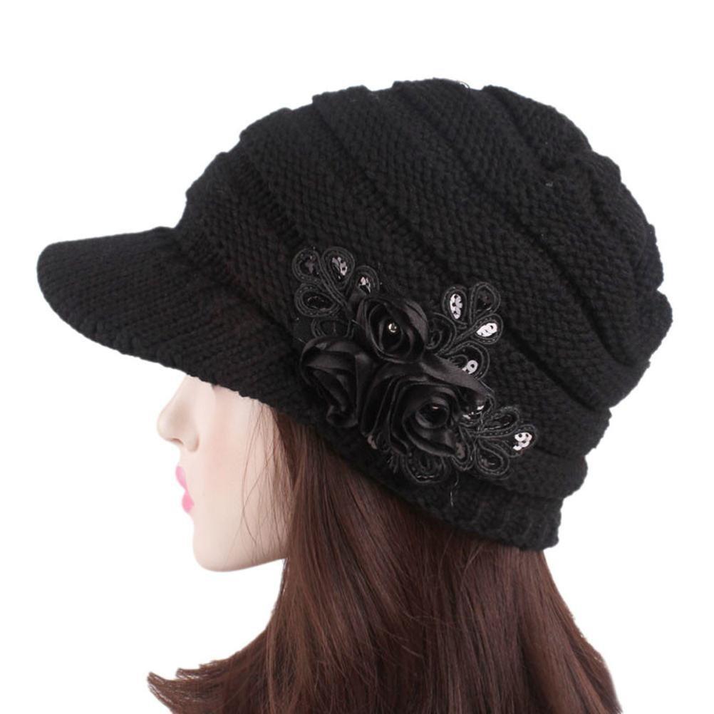 cap per Donna in Lana acrilica Vovotrade Cappello Invernale da Donna  Berretto con Visiera a Turbante Berretti (Nero)  Amazon.it  Abbigliamento 2dd3bee6c087