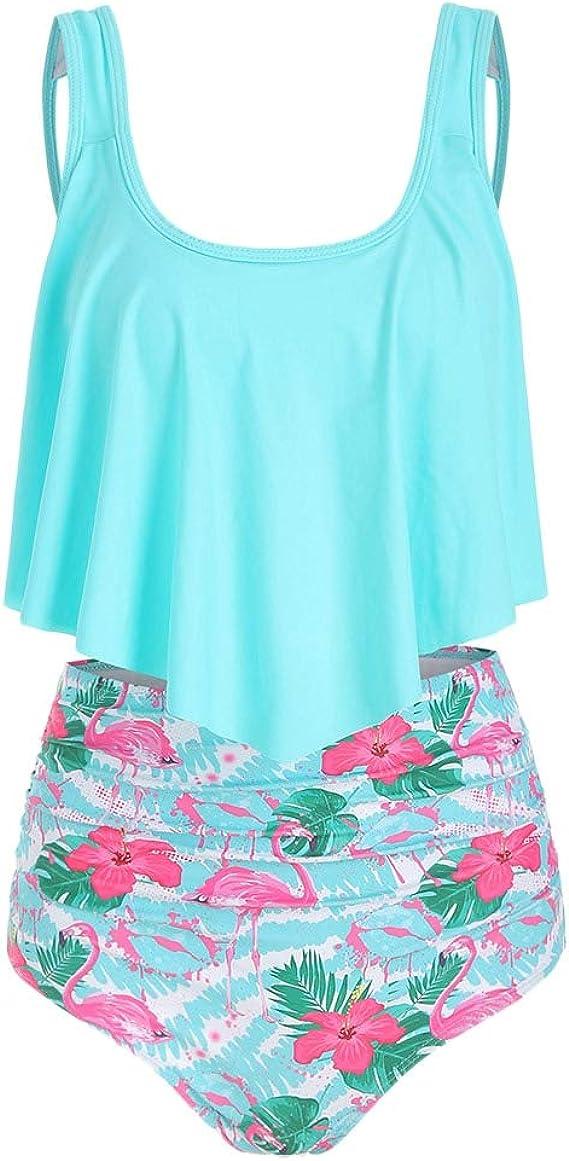 M/&S Flamingo Tankini Set Bikini Top Briefs Blue Orange Sizes 6-20 Removable Pads