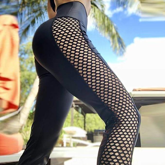 Amazon.com: Womens High Waist Mesh Stitching Yoga Pants ...
