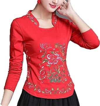 Auspiciousi Camisa China Ropa para Mujeres Bordado Cheongsam Top Tallas Grandes Ropa para Damas: Amazon.es: Ropa y accesorios