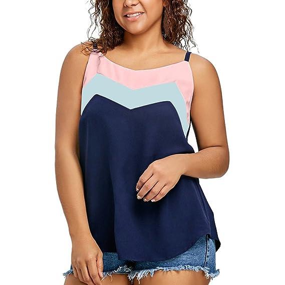 Levifun Camiseta de la Ropa Tops para Mujer, Bloques de Colores Empalme Correa Sexy Verano