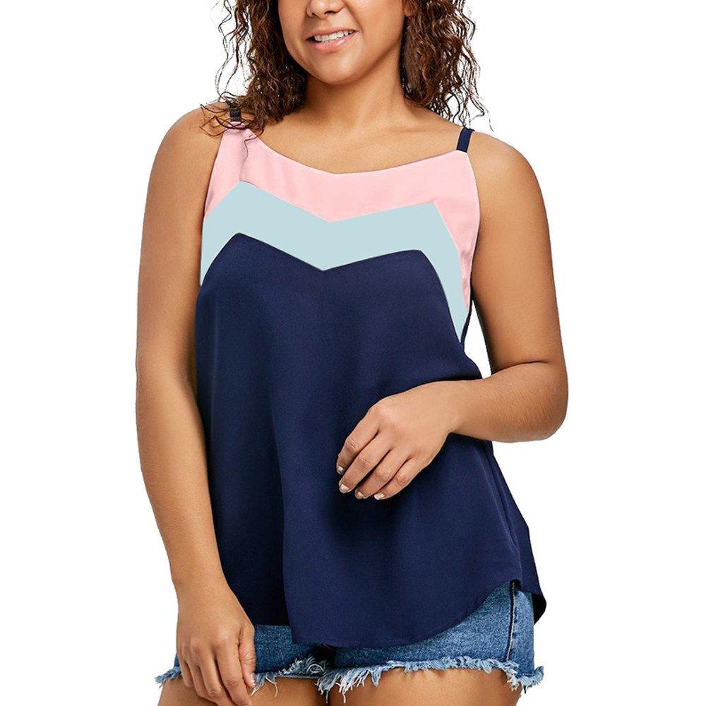 AgrinTol Womens Casual Tops Plus Size Color Block Cami Strap Vest Patchwork Tank Tops (Multicolor, 5XL)