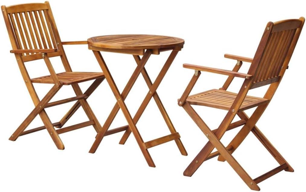 vidaXL Bistro 3 Pieces Folding Acacia Wood Garden Furniture Balcony Set