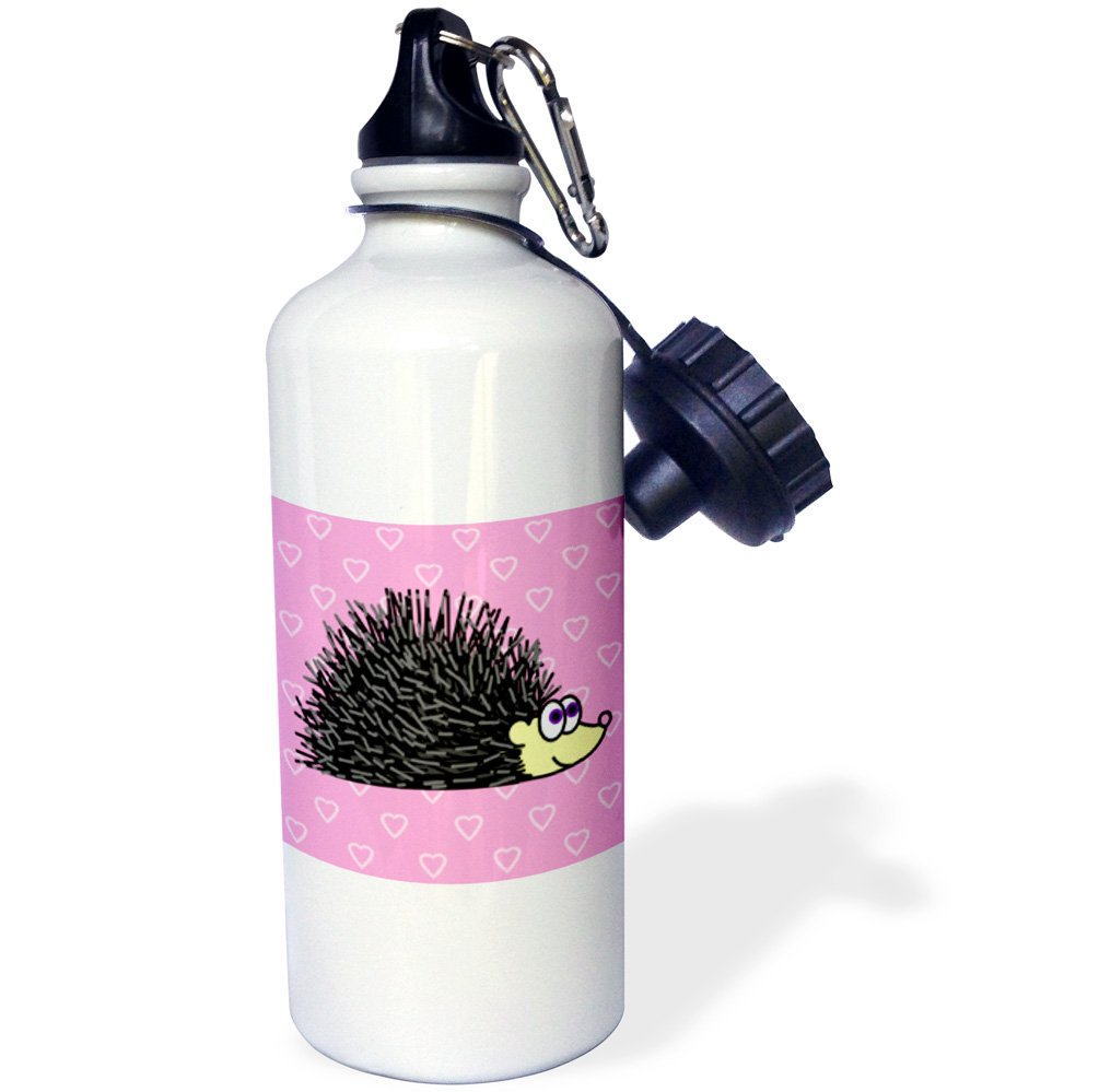 3dpink wb_6174_1  Hedgehog and Hearts Design  Sports Water Bottle, 21 oz, White