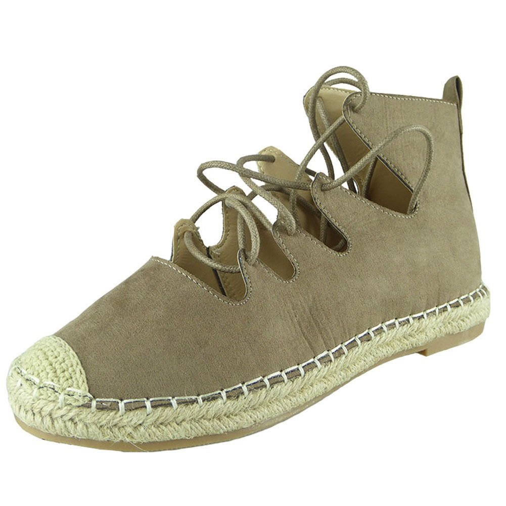 New Womens Ladies Ankle Faux SuedeLace Up Espadrilles Shoes Sandals Flats  Size 3-8: Amazon.co.uk: Shoes & Bags