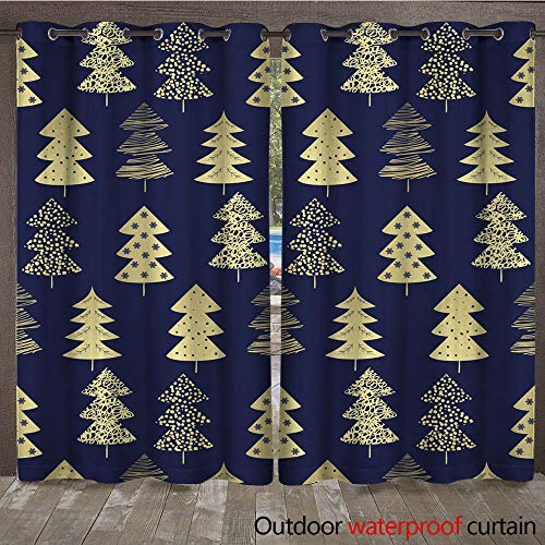 Sherry Kline Pattern (WinfreyDecor Home Patio Outdoor Curtain Seamless Pattern with Christmas Trees for Your Design W108 x L84)