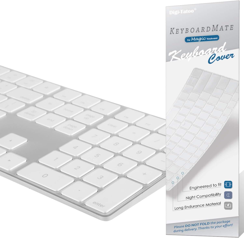 Digi-Tatoo Keyboard Cover for Apple iMac Magic Keyboard with Numeric Keypad (Model: MQ052LL/A A1843, Bluetooth, Wireless), US Layout, Premium Ultra Thin 0.18mm, High Transparency