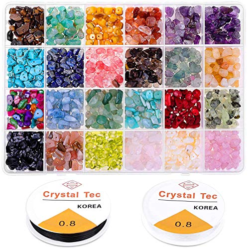 Crystal Chips and Gemstones Beads for Jewelry Making, Cridoz 24 Colors Gemstones Chips Jewelry Bracelet Beads for Jewelry Making