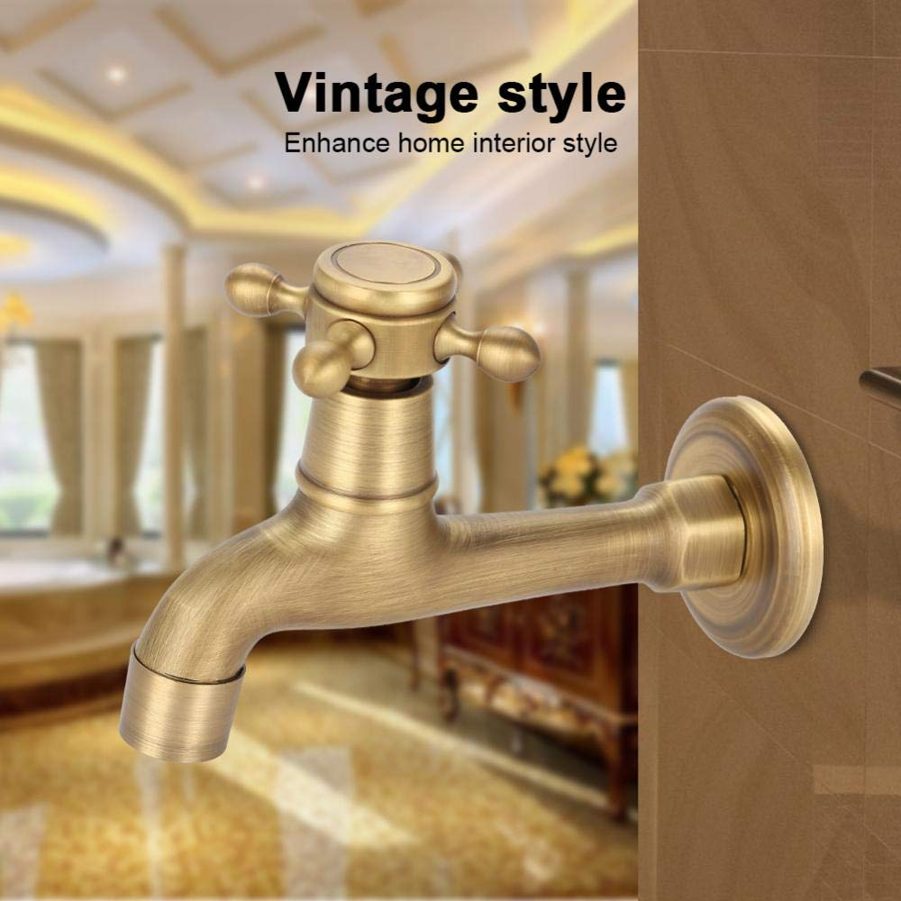#1 European Classic Mop Pool Faucet Wall Mounted Single Cross Handle Solid Brass Vintage Antique Oil Rubbed Water Tap Elegant Smooth Luxury Cold//hot Water Control Sink Faucet