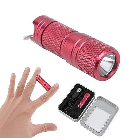 BORUIT Linterna Llavero Micro USB Mini Linterna 200 Lúmenes Impermeable Recargable Linterna para Ciclismo, Camping, Montañismo, Senderismo y las ...